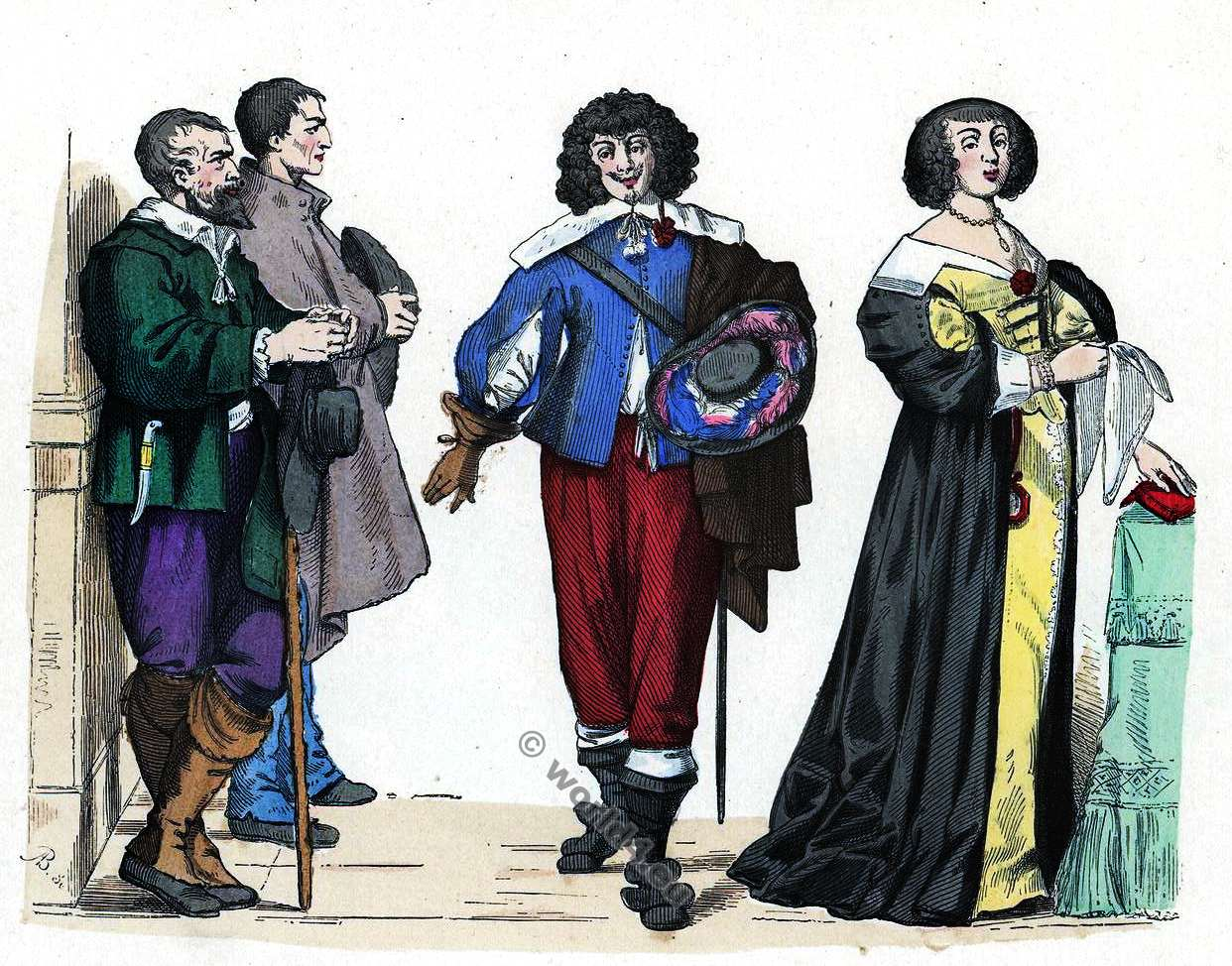 Dame, Grande, Tenue,. Gentilhomme, Paysans, 16ème siècle, costumes, baroque