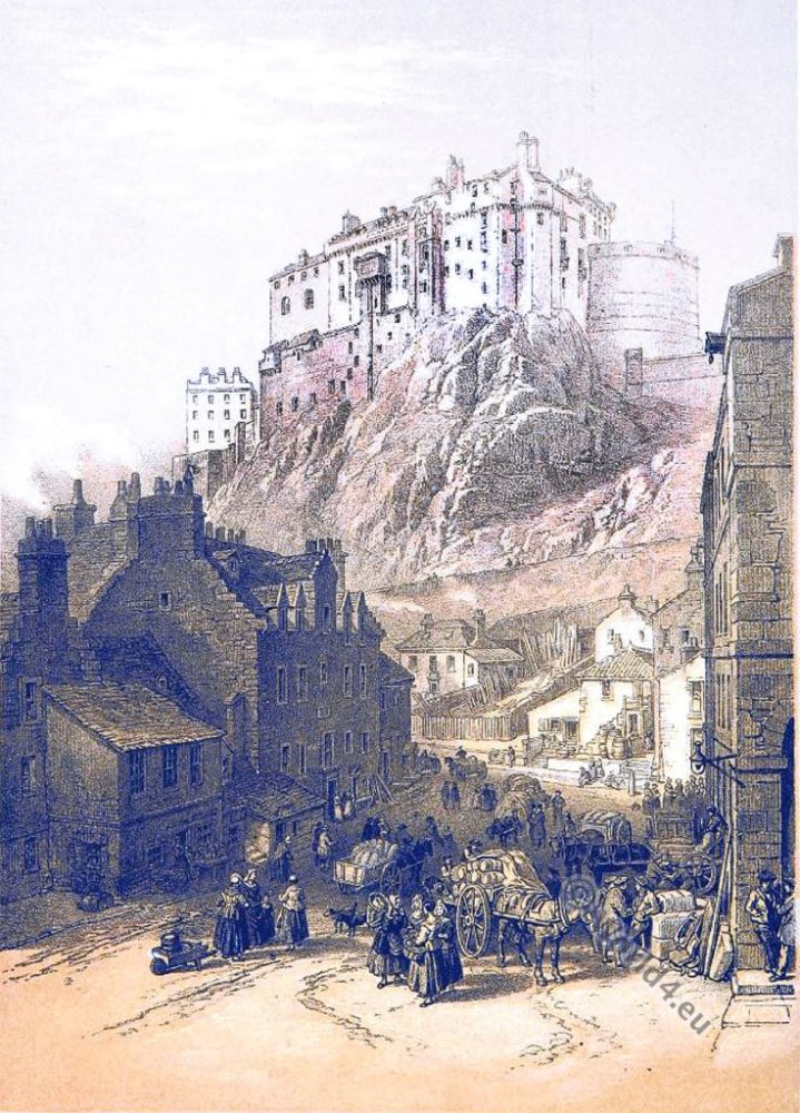 Edinburgh, castle, W. L. Leitch, Scotland, 19th, century, Illustration,