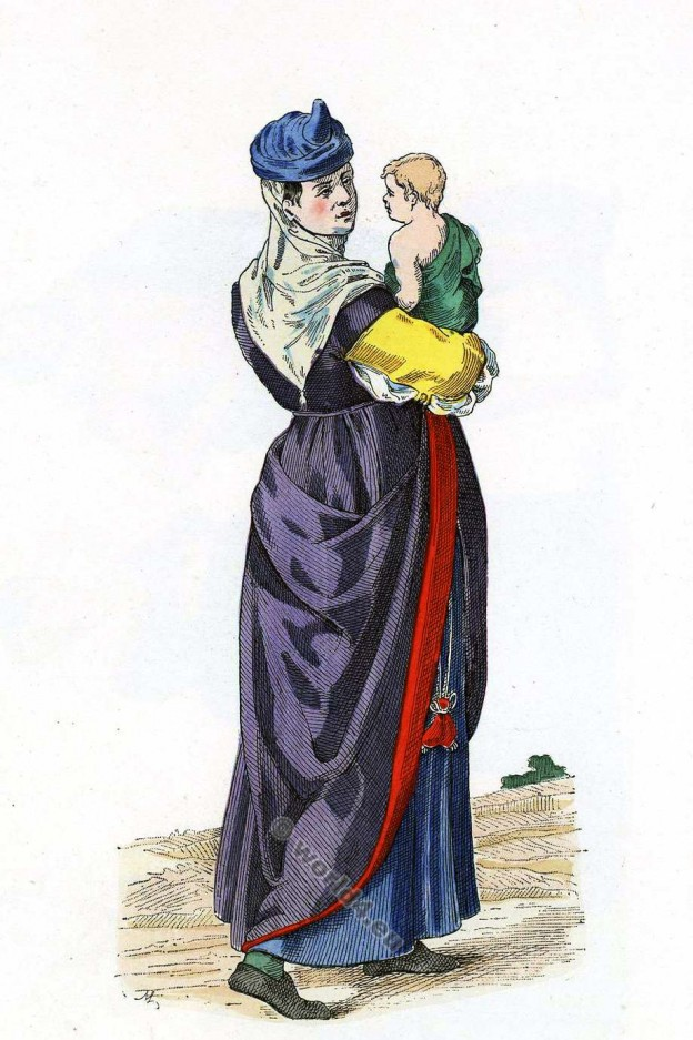 Femme de Bayonne. 16ème siècle costume. Histoire de la mode renaissance.