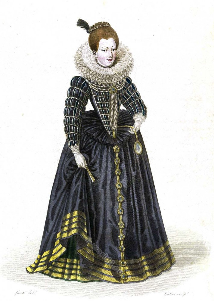 Gabrielle d'Éstreés, Duchesse de Beaufort. Mistress Henry IV. France 16th century fashion. Baroque costume history