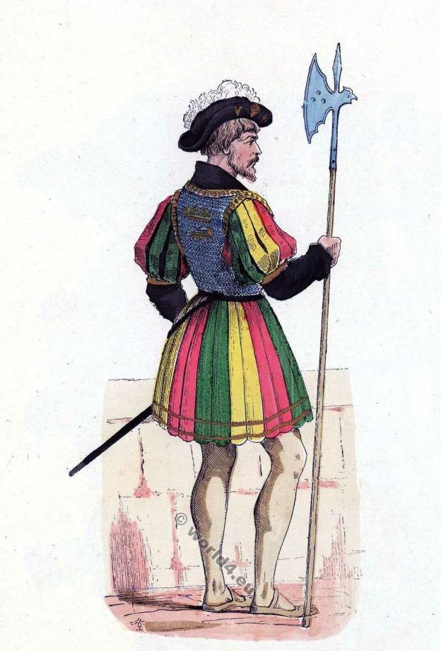 Garde du corps de François Ier. Histoire de la mode baroque. 16ème siècle costume.