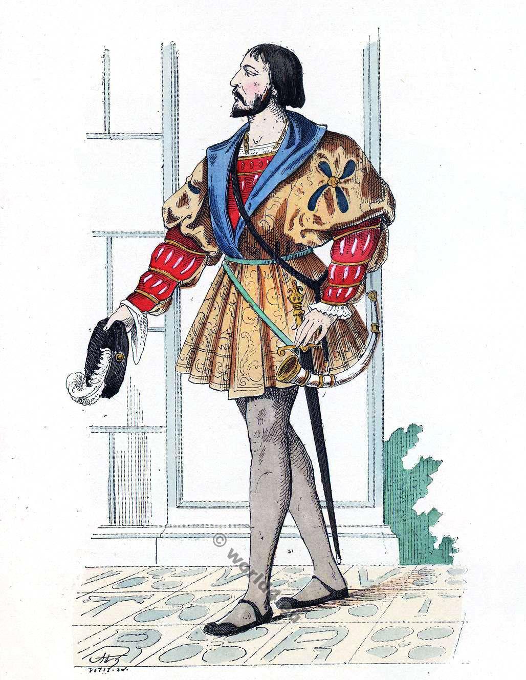 Gentilhomme, cour, François 1er, 16ème, siècle, costume, Histoire, mode, Renaissance,