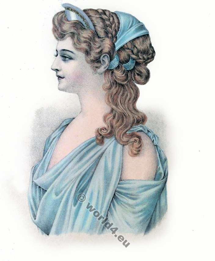 Ancient Greek hairstyle. Coiffure Grecque antiquité. Albums de coiffures historiques