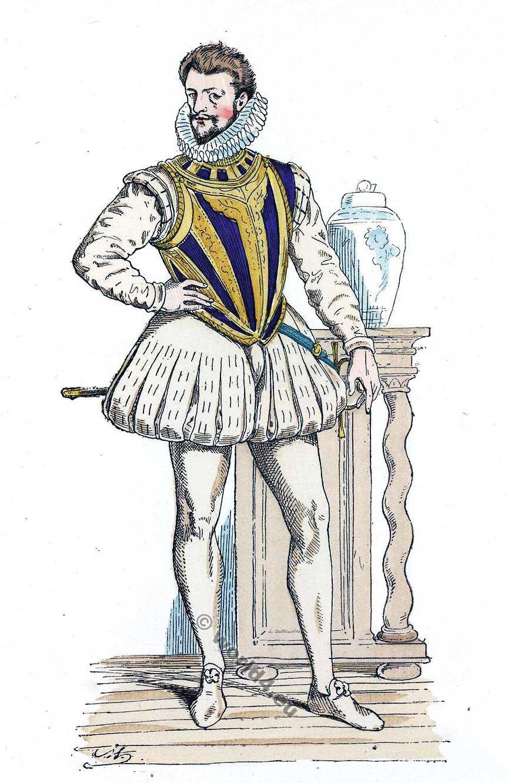 Henri de Lorraine, Duc de Guise, dit le Balafré. Histoire de la mode baroque. 16ème siècle costume.