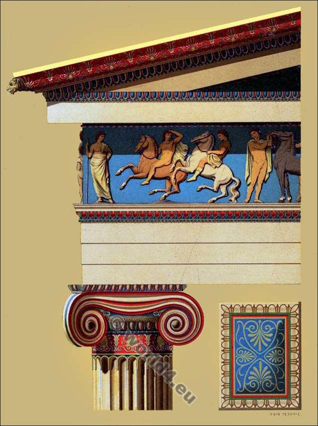 Ionian column, Ionic frieze, entablature. Classical architecture. Ancient Greece. Propylaea. Epistylion.
