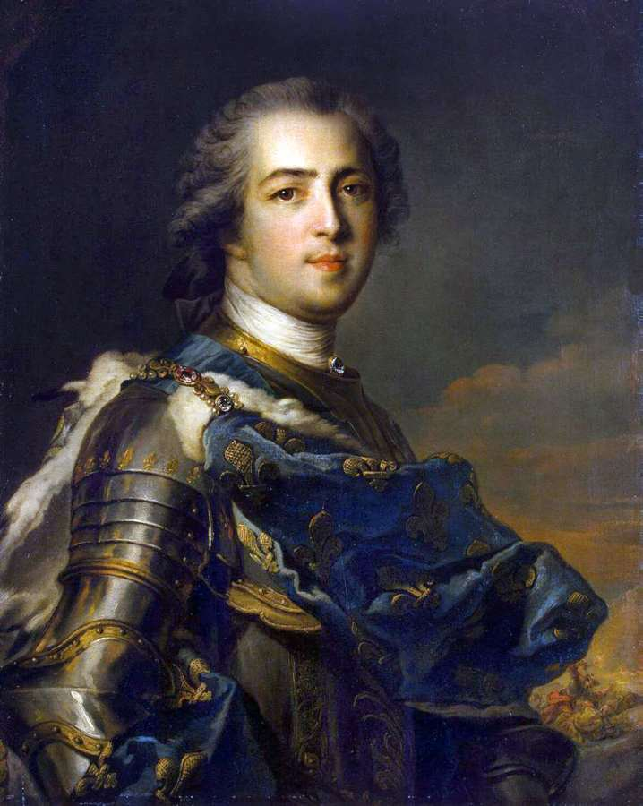 Louis XV. Jean Marc Nattier. French king in armor. Rococo fashion.