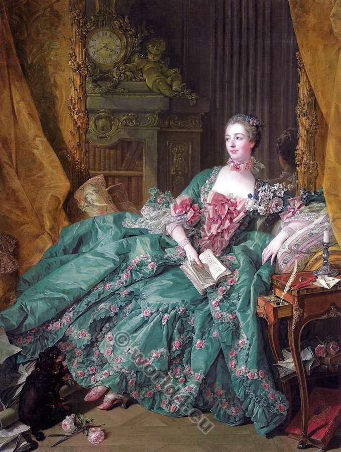 Madame de Pompadour. François Boucher. 18th century. Rococo fashion.