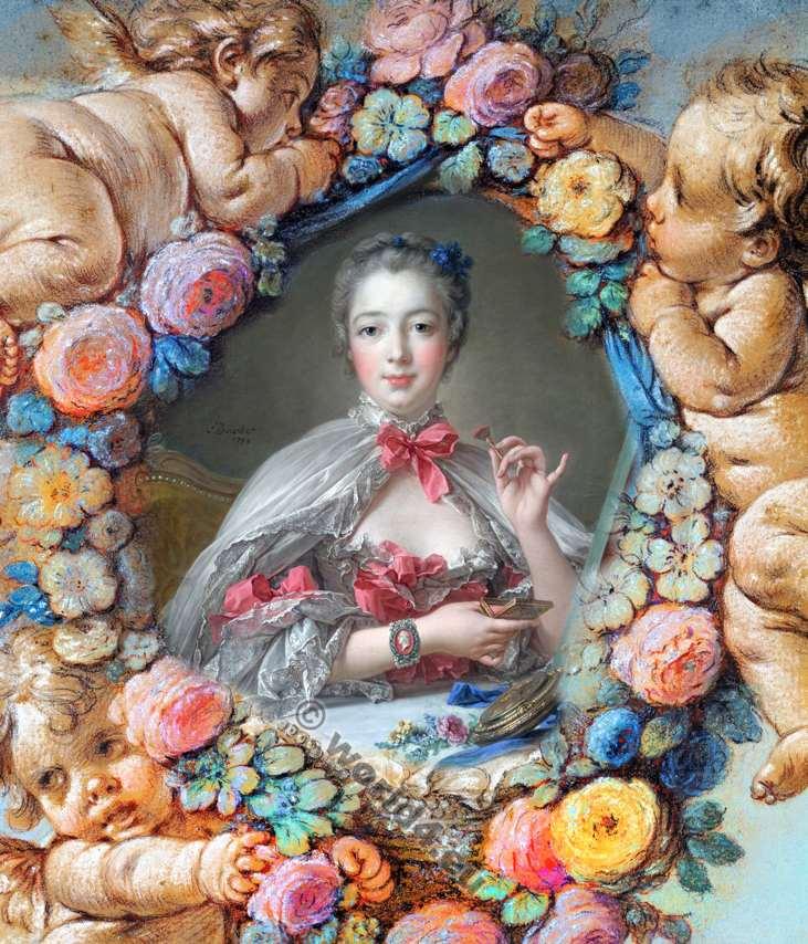 Madame de Pompadour. Mistress. Louis XV. Rococo fashion. 18th century costumes.