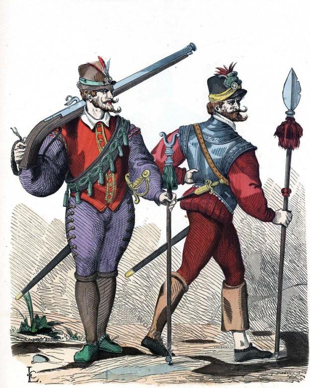 Mousquetaire, officier, infanterie, Histoire, mode, 16ème, siècle, costumes, renaissance
