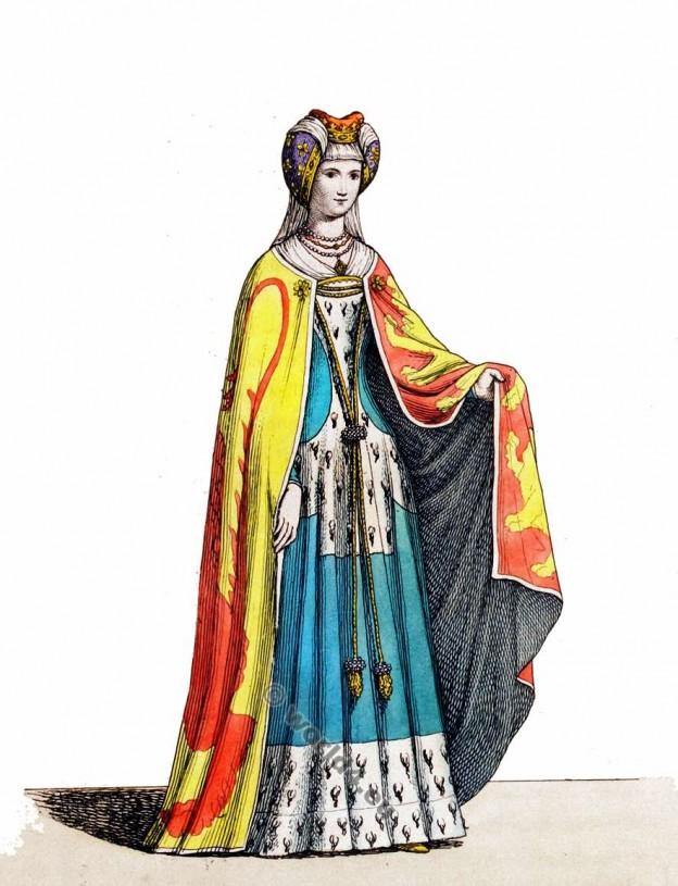 Noble anglaise.. Mode féminine du Moyen Age. 13ème siècle costume.