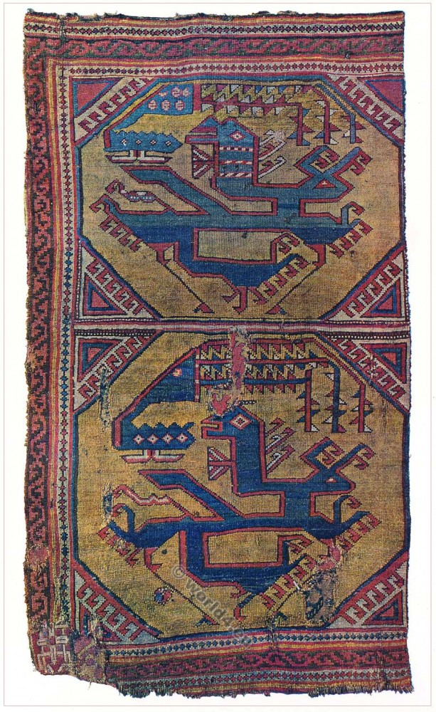 Oriental carpet. 15th century. Caucasus. Asia Minor. Phoenix