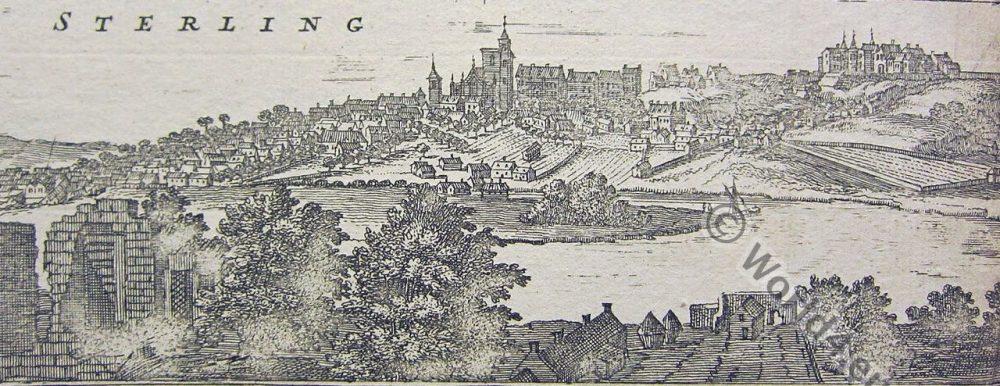 Sterling, Scotland, historic view, illustration,