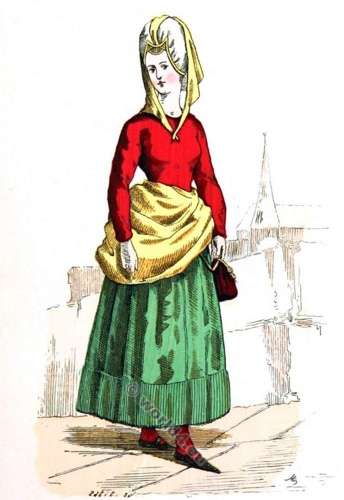 Costume, Bourgeois, mode, moyen âge, Vêtements, 14ème, siècle