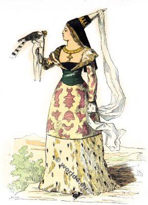 Chatelaine, mode, moyen âge, Vêtements,14ème, siècle,