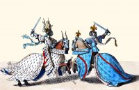 Tournament leaders. 14th century. Knights in battle. Medieval, Gothic. Burgundy Costume History.