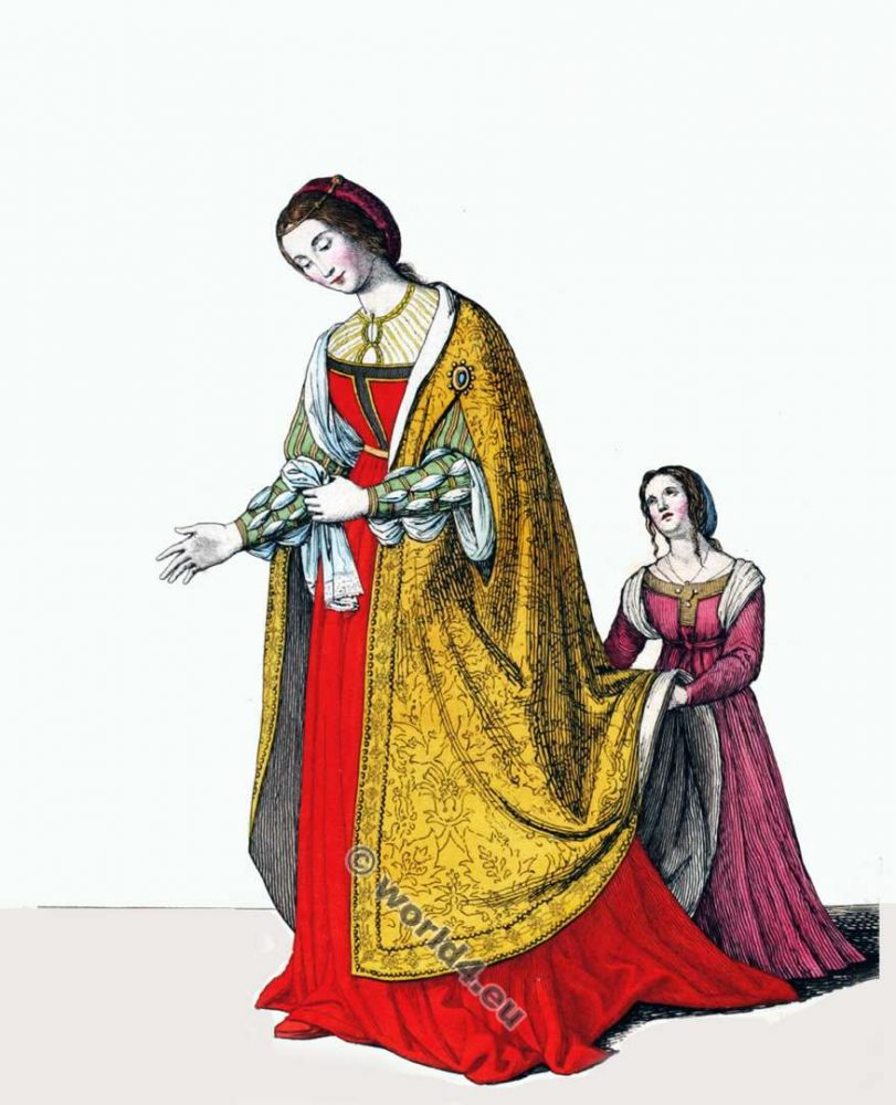 Eleanor of Portugal, Holy Roman Empress. 15th century clothing. Medieval nobility costumes. Gothic fashion