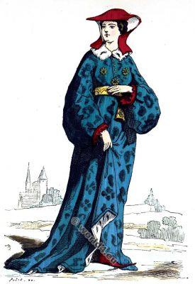 Dame, Noble, mode, moyen âge, Vêtements, 14ème siècle