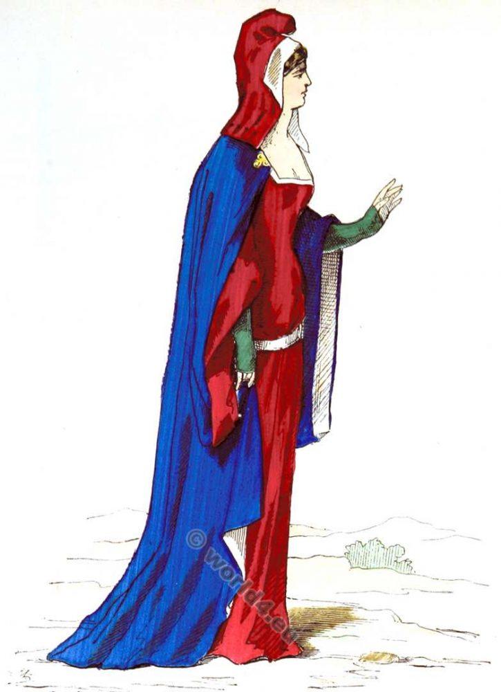 Costume, Dame, Noble, mode, moyen âge, Vêtements
