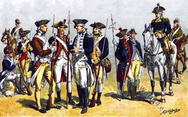 Revolutionary War uniforms. 18th century. American soldier. Infantry. Artillery Captain. Lieutenant. Major General.