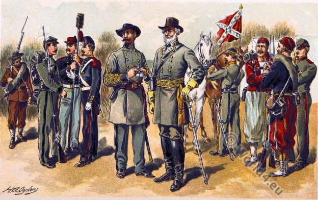 Confederate Uniforms. U.S. Military. American Civil War. Sezession.