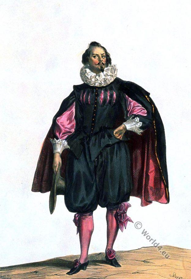 Costume civil du temps de Louis XIII. XVIIe siècle. Achille Devéria. la mode baroque.