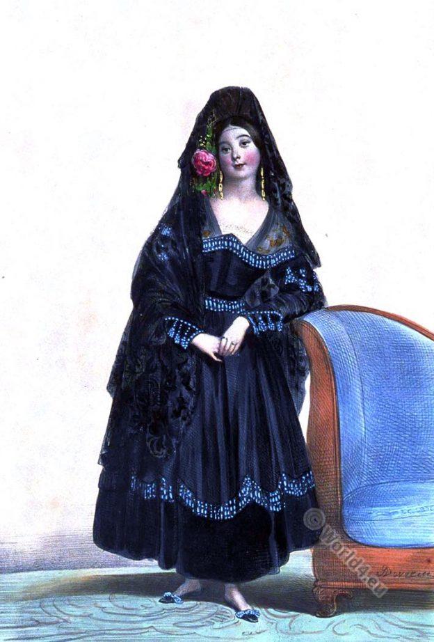 Femme de lettres. Marie Menessier-Nodier. Dame Espagnole en costume de Maja. Manola.