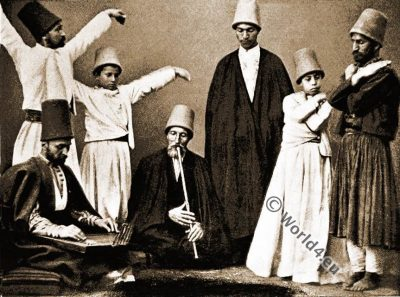 Dancing Dervishes. Ottoman Empire. Islam monks. Mohammedan priest.