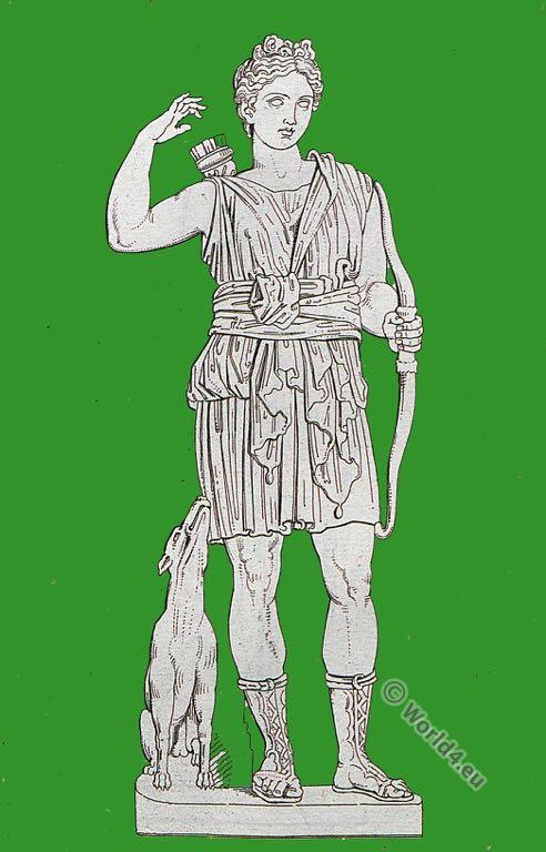 Diana Succinta. Roman empire. Ancient costume. Roman sculpture.