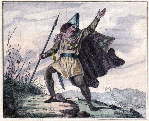 Gaulois, Breton, Celte Anglo Saxon Bretagne. Leader Breton. Costume