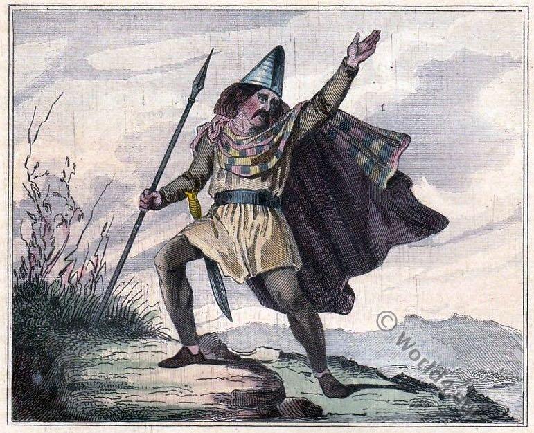 Ancient inhabitants Gaulois, Breton, Celte Anglo Saxon Bretagne. Leader Breton. Costume