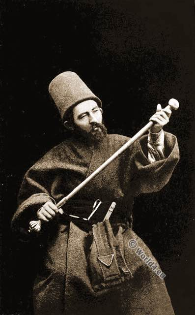 Howling Dervishes. Ottoman Empire priest. Islamic Monks. Costumes.