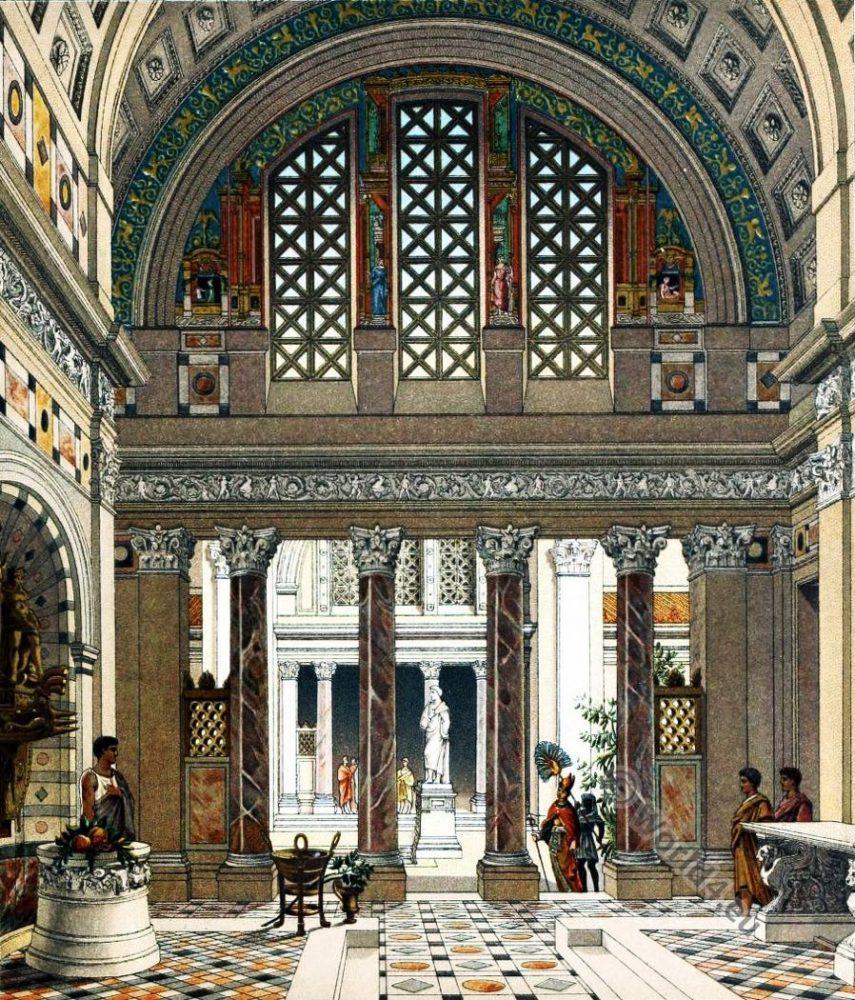 Roman Palace. Auguste Racinet. Ancient architecture.