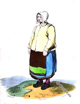 Female Peasant Dalarna, Sweden. Traditional national costume. Scandinavian folk dress.