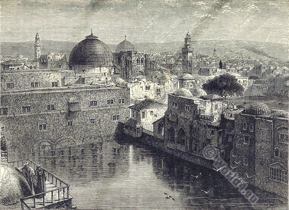 Hezekiah's Pool, Pool of Pillars. Pool of the Patriarch's Bath. בריכת חזקיהו, Brikhat Hizkiyahu. Biblical place. Jerusalem.