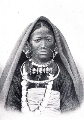 Kiranti. Limbu. Traditional India costumes. Tribal costume.