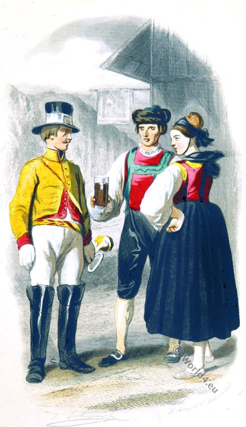Postilion costume. Innkeeper costume. Baden folk dress. German national costumes. Eugène Guinot