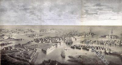 Valetta Malta. Map. Harbour. Mediterran. Middle ages.