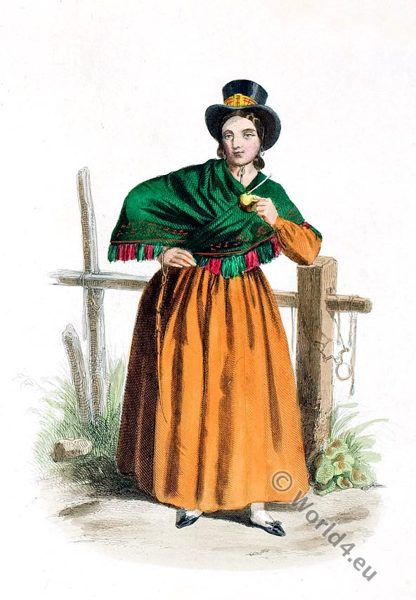Femme de la campagne. Argentina. Costume.