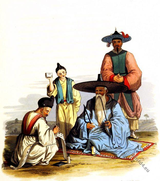Korea costumes. Secretary costume. Korean Chief dress. Historical