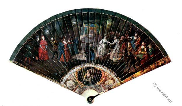 diseño Abanico, rococó. siglo 18, Watteau, antiguo