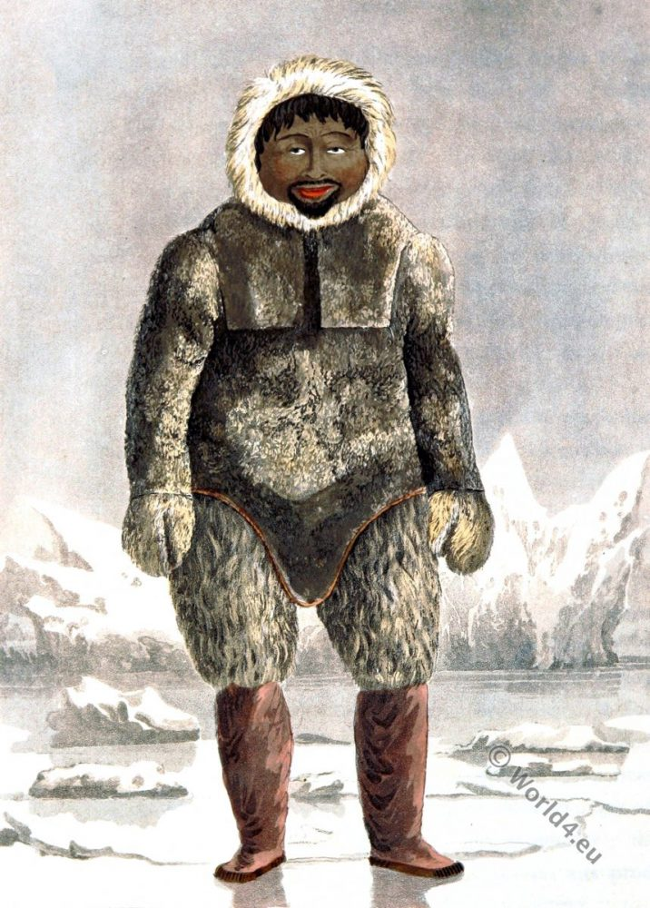 Greenland. Ervick, Inuit. Eskimo. Native, Arctic, Highlander, Prince Regents Bay, Dress, Costume, glaciers, ice, parkas, fur,