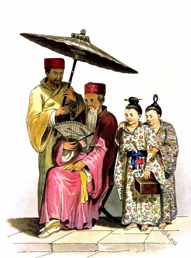 Okinawa, Japan. Loo Choo Chief. Historical Asian costumes.