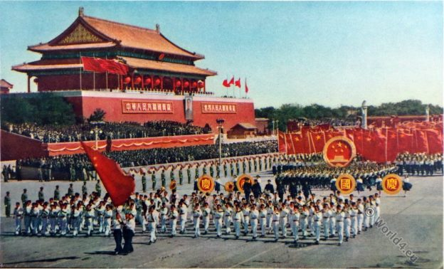 Mao Tse-tung, Chinese propaganda, China. Tien An Men Square, Pecking