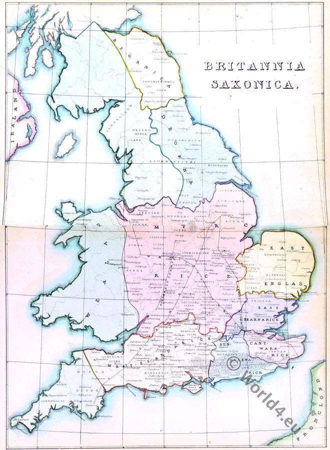 Britannia Saxonia, Ancient England. Saxon, Anglo-Saxon, Map, History Britain