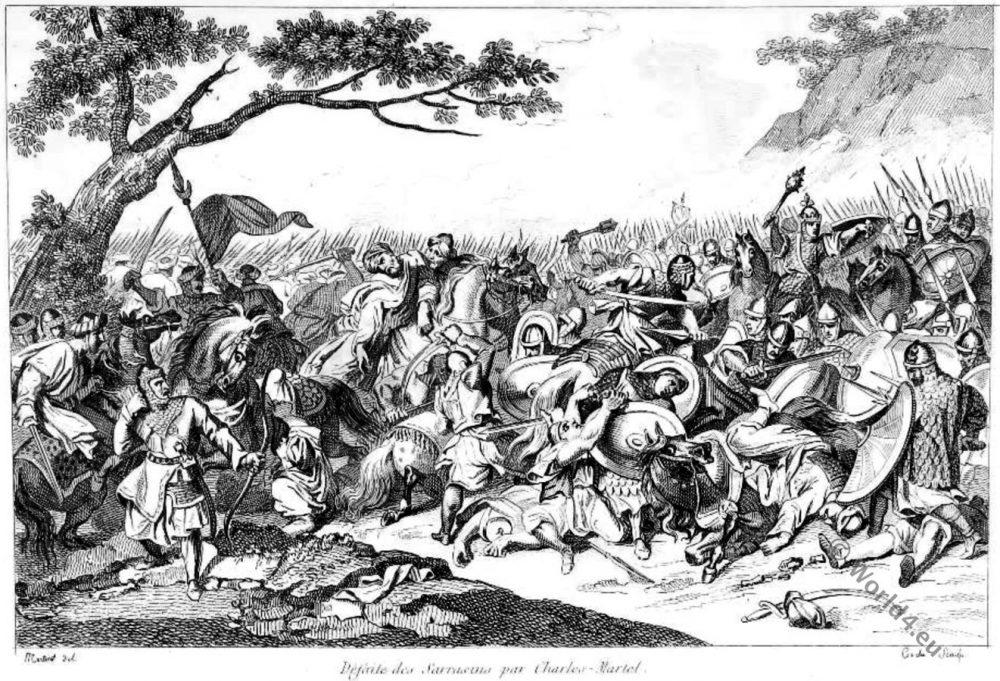 Battle, Poitiers, Tours, Charles Martel, Mérovingiens, Saracens, Francs, Merovingian,