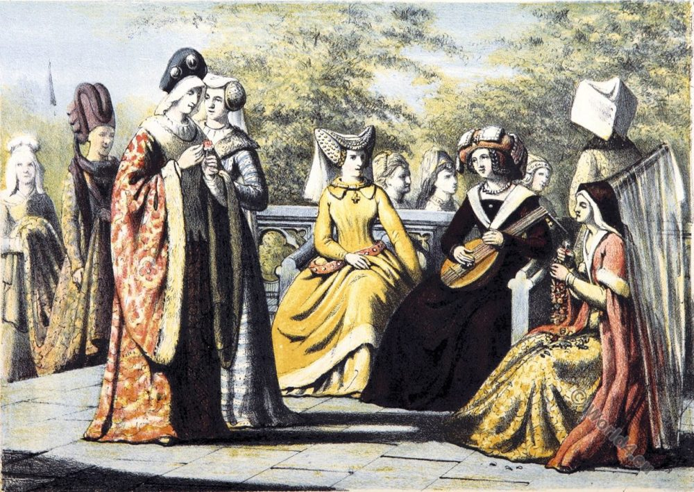 15th century clothing, Dutch noble women, Burgundian fashion,
