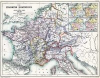 Merovingian. Historical atlas. Frankish dominions. French History, Middle ages Map