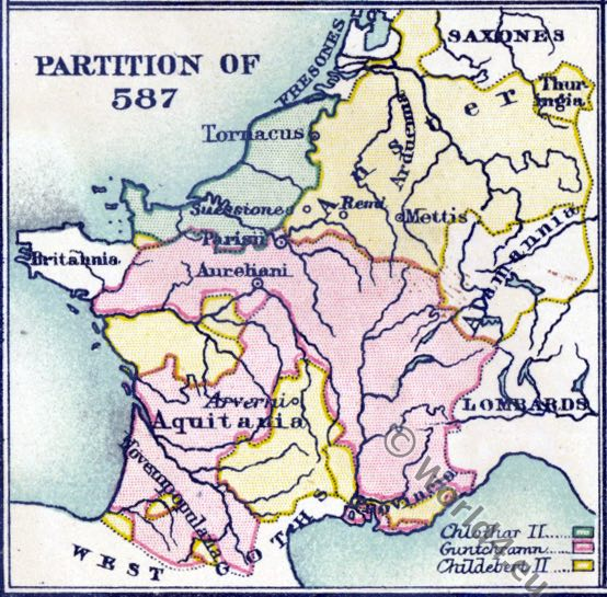 Merovingian, map, Historical atlas, France, History, Middle ages