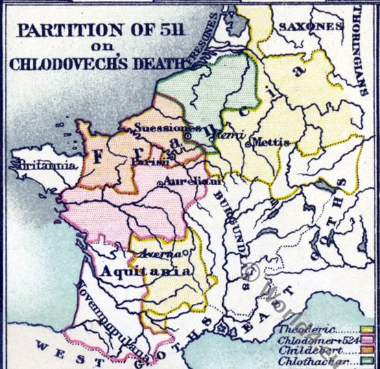 Merovingian, map, Chlodovech, Historical atlas, France, history, Middle ages