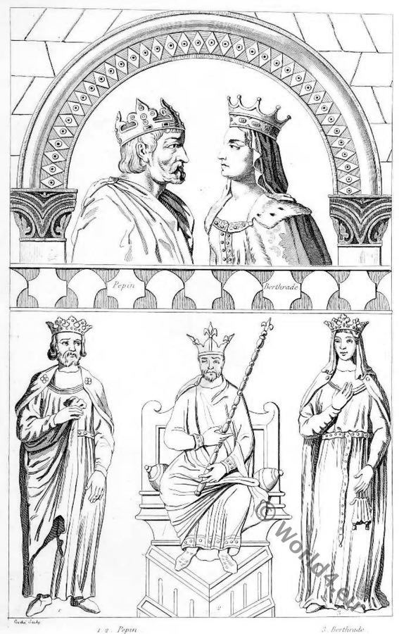 Pepin the Short, Bertrada of Laon, Merovingian, Franks, Queen, King